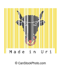 Barcode set the color of Uri flag, The canton of Switzerland with text Made in Uri.