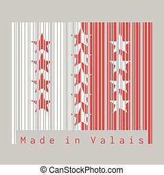 Barcode set the color of Wallis flag, The canton of Switzerland with text Made in Valais.