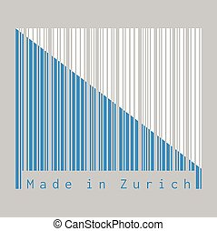Barcode set the color of Zurich flag, The canton of Switzerland with text Made in Zurich.