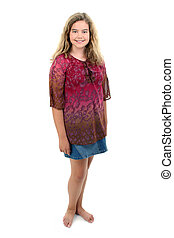 Beautiful 12 year old girl standing barefoot over white.