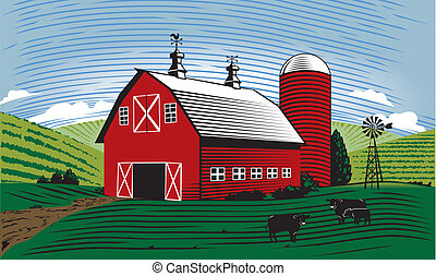 A farm scene with barn, cattle and farmland