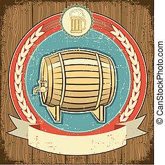 Barrel of beer label set on old paper texture. Grunge background