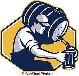 Retro style illustration of a bartender pouring keg barrel of beer into mug set inside hexagon on isolated white background.