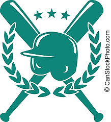 Baseball championship emblem in green and white with a helmet over crossed bats with a laurel wreath and three stars in silhouette