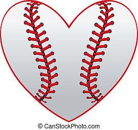 Baseball leather ball as a heart for sport emblem design