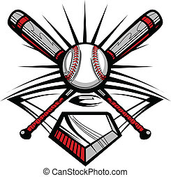 Vector Template of a Softball Bats, Baseball, and Home Plate Graphic