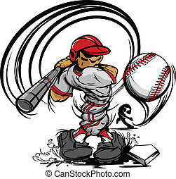 Baseball Cartoon Player with Bat and Ball Vector Illustration