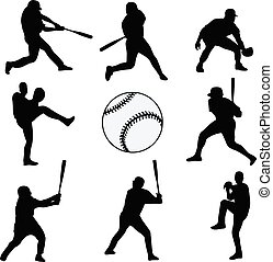 baseball players silhouettes collection