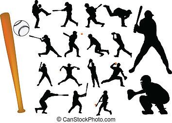 baseball players silhouettes - vector