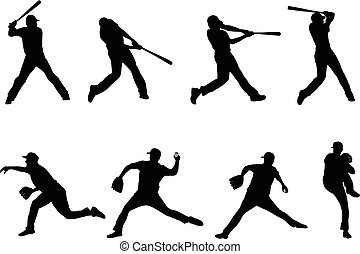 baseball silhouettes collection 4
