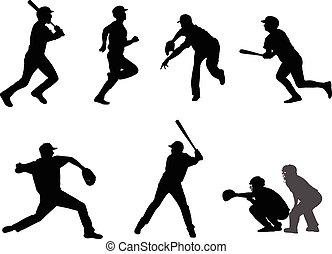 baseball silhouettes set