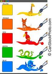 basic colors set with cartoon animals