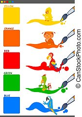 basic colors set with cartoon birds