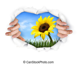 Nature background with hands ripping a paper. Vector