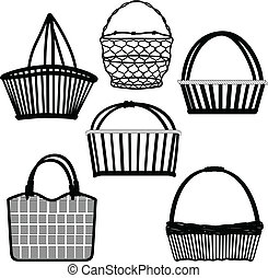 A sketch of doodle drawings representing basket, bag, and container.