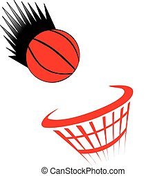basketball being thrown into net on white background
