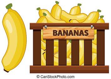 Basket full of bananas on white background