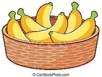 Basket of bananas on white background