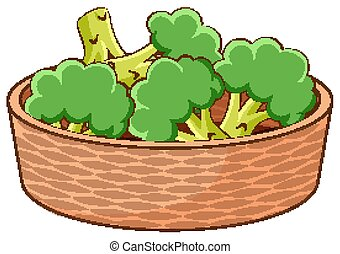 Basket of broccolis on white background