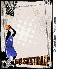 Action players, on grunge background, vector illustration. Basketball team grunge poster