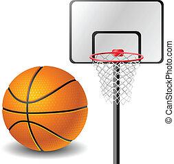 Basketball ball and basket isolated on white