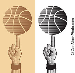 Basketball Ball On The Finger Vector Drawing 2
