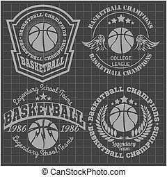 Basketball championship - emblem t-shirt, prints, badges