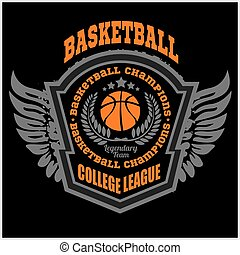 Basketball championship logo set and design elements