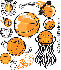 Clip art collection of basketball icons and elements