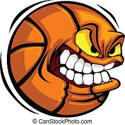 Basketball Face Cartoon Ball Vector