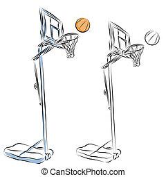 Basketball Hoop Stand Line Drawing