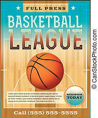 A basketball league flyer or poster perfect for basketball announcements, games, leagues, camps, and more. Vector EPS 10. File is layered for easy separation of text from the background.