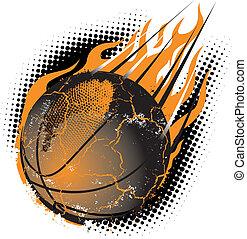 A fiery basketball hurling through the air