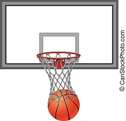 Basketball Through Net With Backboard is an illustration of a basketball going into a basketball net. Includes the basketball backboard.