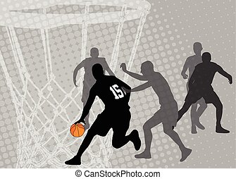 basketball on the abstract halftone background