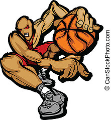 Cartoon Vector Image of a Basketball Player Holding Basketball