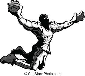 Basketball Player Cartoon Dunking