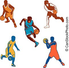 Basketball Player Dribbling Ball Collection
