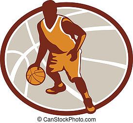 Basketball Player Dribbling Ball Oval Retro