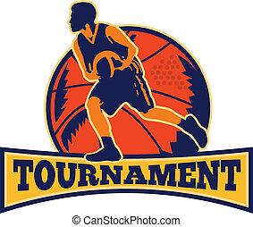 Basketball Player Dribbling Ball Retro