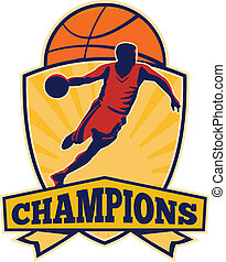 Basketball Player Dribbling Ball Shield Retro