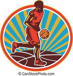 Basketball Player Dribbling Ball Woodcut Retro