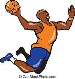 Basketball Player Dunking Ball Cartoon