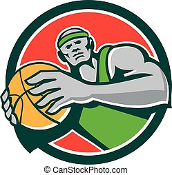 Basketball Player Holding Ball Circle Retro