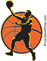 Basketball Player Lay Up Ball