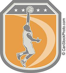 Basketball Player Rebounding Ball Shield Retro