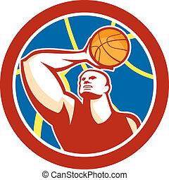 Basketball Player Shooting Ball Circle Retro