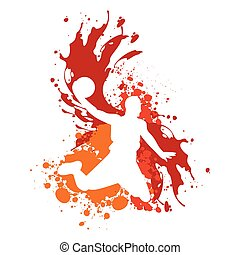 basketball player silhouette with splatter effect vector