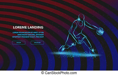 Basketball player with ball. Vector Basketball Sport Background for Landing Page Template.
