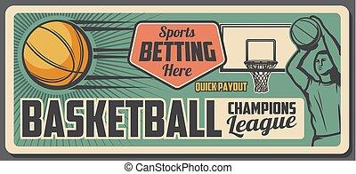 Basketball player with sport ball, basket and hoop